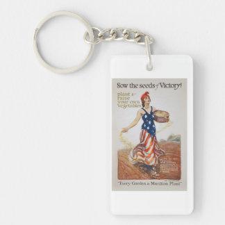Victory Garden Liberty Sow Seeds WWI Propaganda Keychain
