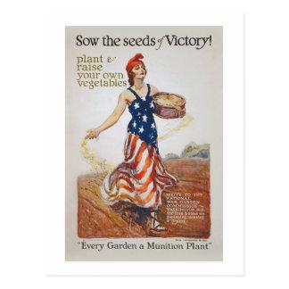Victory Garden Liberty Sow Seeds WWI Propaganda Postcard