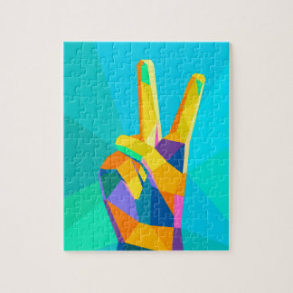 Victory hand geometrical style modern silhouette o jigsaw puzzle