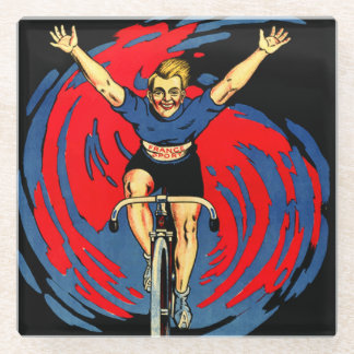 Victory in Red & Blue on Vintage Bicycle Coaster