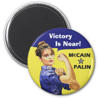 Victory Is Near! - Sarah Palin 2 Inch Round Magnet