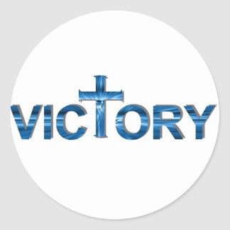 Victory Ombre bleu. Classic Round Sticker
