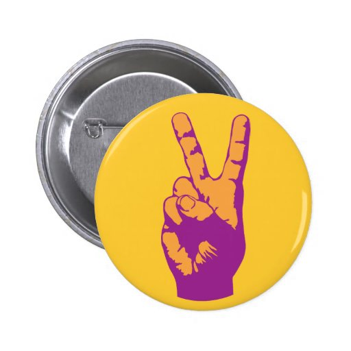 Victory, Peace and Harmony hand symbol Pinback Button