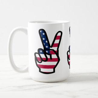 Victory Sign With American Flag Coffee Mug