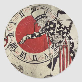 Victory Through Daylight Savings Time WWII Classic Round Sticker