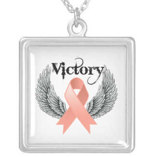Victory Wings Endometrial Cancer Square Pendant Necklace