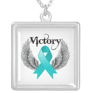Victory Wings - Gynecologic Cancer Square Pendant Necklace