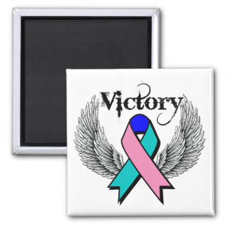 Victory Wings - Thyroid Cancer 2 Inch Square Magnet