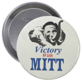 Victory with Mitt Pinback Buttons