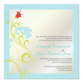 """Vid/aguamarina ornamental azul//grey verde invitación 5.25"""" x 5.25"""""""