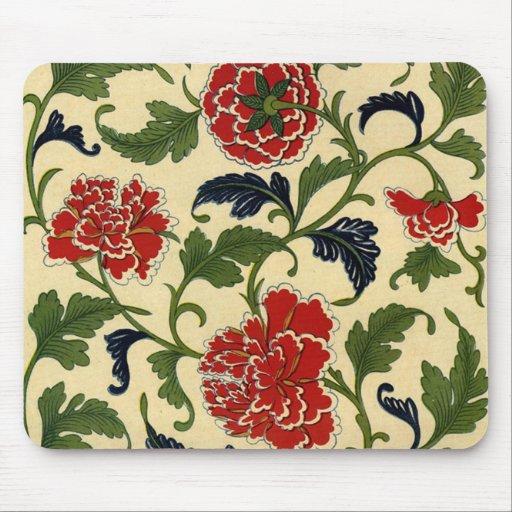 Vid china de la flor del vintage mouse pads