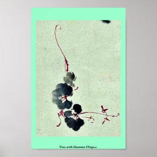 Vid con los flores Ukiyo-e. Póster