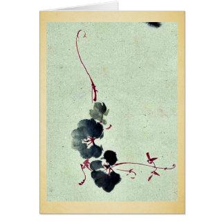 Vid con los flores Ukiyo-e. Tarjetón