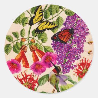 vid de trompeta, arbusto de mariposa, y bálsamo de pegatina redonda