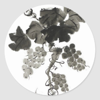 Vid de uva, Sumi-e Pegatina Redonda