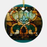 Vid del vitral, redonda adorno navideño redondo de cerámica