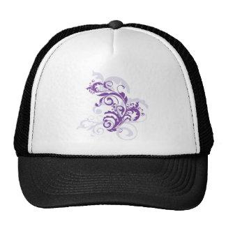 Vid floral púrpura bonita hermosa de los remolinos gorro