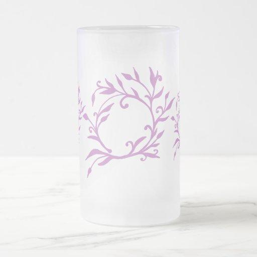 Vid floral rosada taza cristal mate