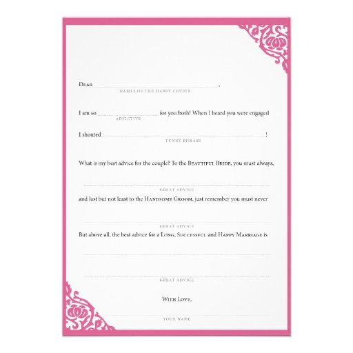Vid rosada de MadLibs del boda Anuncios Personalizados