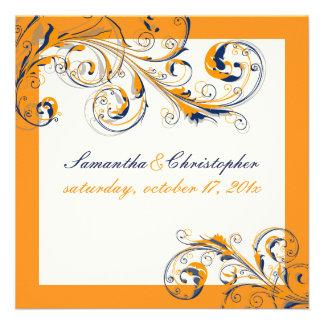 Vid Swirls orange de PixDezines+color de la marina Invitaciones Personalizada