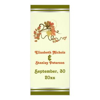 """Vid y hojas elegantes de uva que casan la tarjeta invitación 4"""" x 9.25"""""""