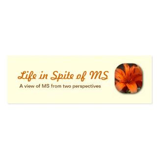 Vida a pesar de tarjetas de visita del ms
