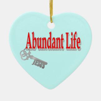 Vida abundante: La llave - v1 (Juan 10: 10) Adorno Navideño De Cerámica En Forma De Corazón