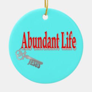 Vida abundante: La llave - v1 (Juan 10: 10) Adorno Navideño Redondo De Cerámica