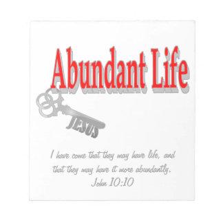 Vida abundante: La llave - v1 (Juan 10: 10) Bloc De Notas