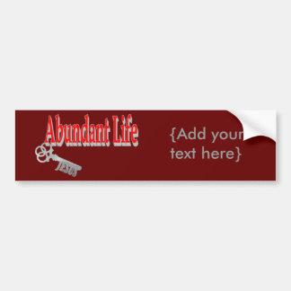 Vida abundante: La llave - v1 (Juan 10: 10) Pegatina Para Auto