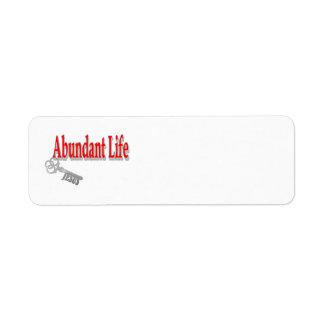 Vida abundante: La llave - v1 (Juan 10: 10) Etiquetas De Remite