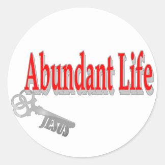Vida abundante: La llave - v1 (Juan 10: 10) Pegatina Redonda