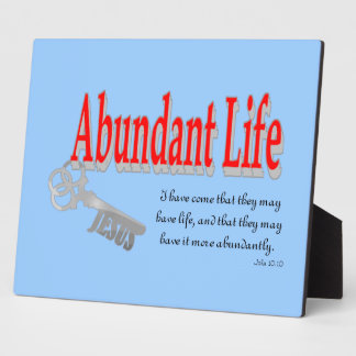 Vida abundante: La llave - v1 (Juan 10: 10) Placas De Plastico