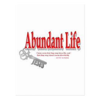 Vida abundante: La llave - v1 (Juan 10: 10) Tarjeta Postal