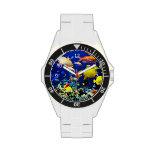 Vida acuática colorida reloj de mano