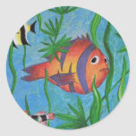 vida acuática pegatinas redondas