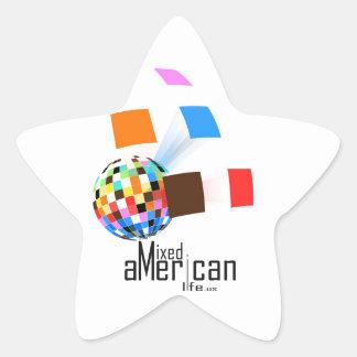 Vida americana mezclada pegatina en forma de estrella