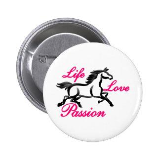 Vida, amor, pasión pin redondo de 2 pulgadas