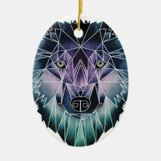 Vida animal salvaje de paquete de cara del lobo de adorno navideño ovalado de cerámica