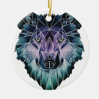 Vida animal salvaje de paquete de cara del lobo de adorno navideño redondo de cerámica
