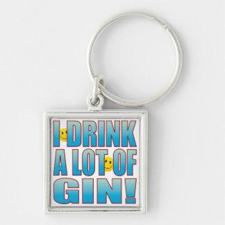 Vida B de la ginebra de la bebida Llavero Cuadrado Plateado