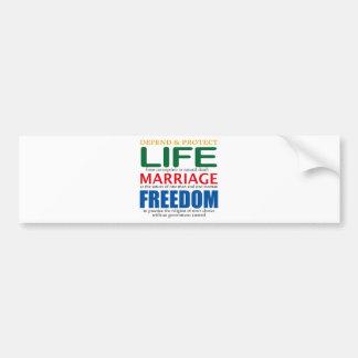 Vida, boda, libertad pegatina para auto