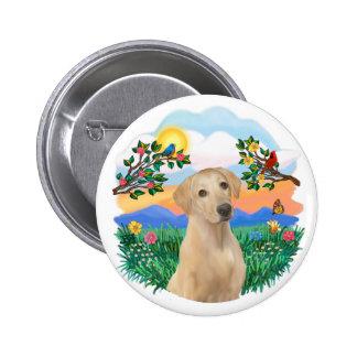 Vida brillante - Labrador amarillo Pin Redondo De 2 Pulgadas