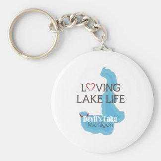Vida cariñosa del lago, el lago devil's, Michigan Llavero Redondo Tipo Pin