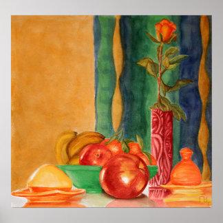 vida color de rosa y todavía de las frutas póster