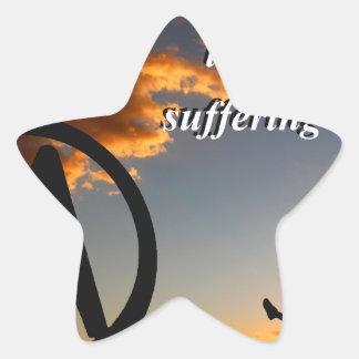 Vida contra el sufrimiento pegatina en forma de estrella