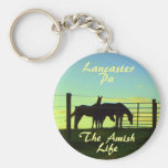 Vida de Amish, caballos Ketchain del condado de Llavero Redondo Tipo Pin