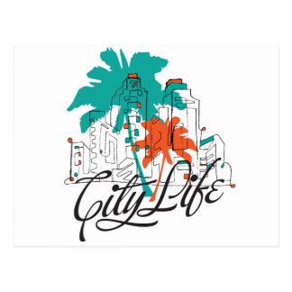 Vida de ciudad - ciudad gráfica con las palmeras postales