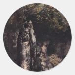 Vida de Gustavo todavía Courbet- con la trucha Etiqueta Redonda