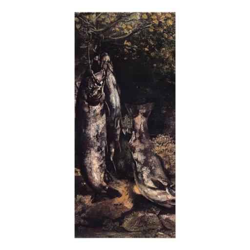 Vida de Gustavo todavía Courbet- con la trucha tre Tarjetas Publicitarias